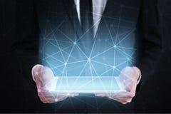 De vliegende 3D achtergrond van het netwerkgebied Bedrijfstechnologie en Internet-concept Moderne virtuele het scherminterface Royalty-vrije Stock Afbeeldingen