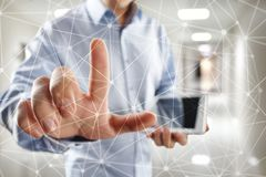 De vliegende 3D achtergrond van het netwerkgebied Bedrijfstechnologie en Internet-concept Moderne virtuele het scherminterface Royalty-vrije Stock Afbeelding