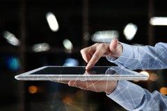 De vliegende 3D achtergrond van het netwerkgebied Bedrijfstechnologie en Internet-concept Moderne virtuele het scherminterface Royalty-vrije Stock Foto