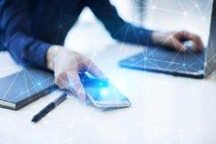 De vliegende 3D achtergrond van het netwerkgebied Bedrijfstechnologie en Internet-concept Moderne virtuele het scherminterface Royalty-vrije Stock Foto's