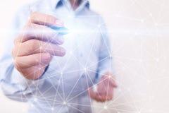 De vliegende 3D achtergrond van het netwerkgebied Bedrijfstechnologie en Internet-concept Moderne virtuele het scherminterface Royalty-vrije Stock Fotografie