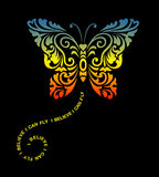 De vliegende decoratie van het vlinder bloemenornament royalty-vrije illustratie
