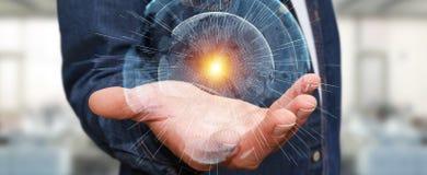 De vliegende die interface van het aardenetwerk door zakenman 3D rende wordt geactiveerd Stock Foto's