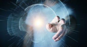 De vliegende die interface van het aardenetwerk door zakenman 3D rende wordt geactiveerd Stock Fotografie