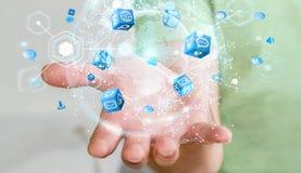 De vliegende die interface van het aardenetwerk door zakenman 3D rende wordt geactiveerd Royalty-vrije Stock Afbeelding