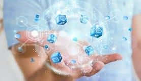 De vliegende die interface van het aardenetwerk door zakenman 3D rende wordt geactiveerd Royalty-vrije Stock Fotografie