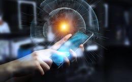 De vliegende die interface van het aardenetwerk door zakenman 3D rende wordt geactiveerd Stock Afbeelding