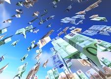 De vliegende euro van Vliegtuigen Stock Foto's