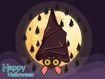De vliegende knuppel van Halloween op maanachtergrond Royalty-vrije Stock Foto's