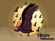 De vliegende knuppel van Halloween op maanachtergrond Royalty-vrije Stock Afbeeldingen