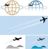de vliegende symbolen van vliegtuigpictogrammen Stock Foto's