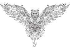 De vliegende valk zendoodle ontwerpt voor grafische t-shirt, tatoegering, embleem en volwassen kleuring royalty-vrije illustratie