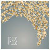 De vliegende vectorillustratie van de boomkaart met donkere achtergrond Royalty-vrije Stock Foto's
