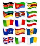 De vliegende vlaggen van het land van Afrika geplaatst deel 4 Stock Afbeelding