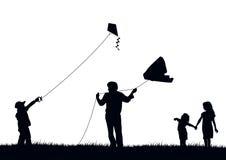 De vliegende vlieger van de familie Stock Fotografie