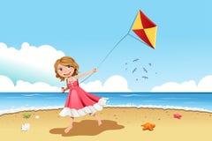 De vliegende vlieger van het meisje Stock Afbeelding