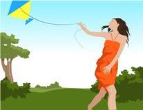 De vliegende vlieger van het meisje Stock Fotografie