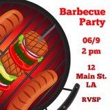 De vlieger van de barbecuepartij, uitnodigingsbanner Gebraden vlees, worsten Vlakke stijl Stock Afbeelding