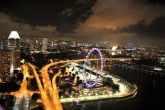 De Vlieger van Singapore bij Nacht Stock Afbeelding