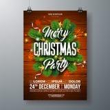 De Vliegerillustratie van de Kerstmispartij met Pijnboomtak, Gouden Ster en Typografie het Van letters voorzien op Houten Textuur royalty-vrije illustratie