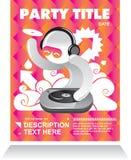 De vliegerkaart van de partij met DJ vector illustratie