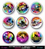De Vliegers van de partijclub voor Muziekgebeurtenis met Explosie van kleuren Stock Foto