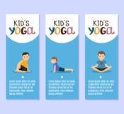 De vliegersontwerp van yogajonge geitjes met jongens vector illustratie