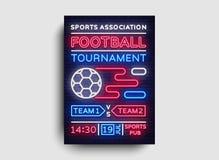 De vliegervector van voetbaltoernooien De Europese affiche van het Voetbalkampioenschap, neonteken, ontwerpmalplaatje voor brochu Stock Foto