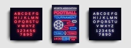 De vliegervector van voetbaltoernooien De Europese affiche van het Voetbalkampioenschap, neonteken, ontwerpmalplaatje voor brochu Royalty-vrije Stock Foto