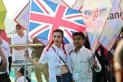 De vliegervlieger van het Verenigd Koninkrijk bij 29ste Internationaal Vliegerfestival 2018 - India Royalty-vrije Stock Foto's