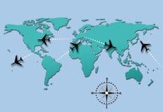 De vliegroutes van het de reisvliegtuig van de luchtvaartlijn op wereldkaart Stock Foto's