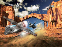 De vliegtuigen van de vechter en het gevecht van het UFO Stock Afbeelding