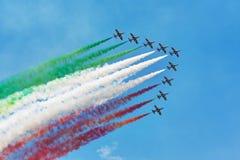 De vliegtuigen van Freccetricolori Stock Afbeelding