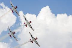 De vliegtuigen van Harvard in vorming in Airshow Stock Afbeelding