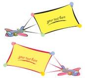 De vliegtuigen van het beeldverhaal met banners Royalty-vrije Stock Foto's