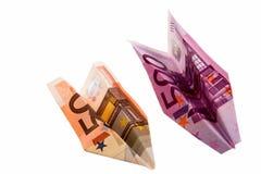 De vliegtuigen van het document van geld Royalty-vrije Stock Afbeeldingen