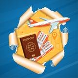 De Vliegtuigen van het vakantieconcept door Gescheurd Gat in Document vector illustratie