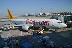 De vliegtuigen van Pegasusluchtvaartlijnen in Vaclav Havel Prague Airport royalty-vrije stock foto