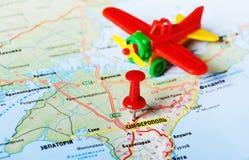 De vliegtuigen van Simferopol, de Oekraïne Rusland Stock Afbeeldingen