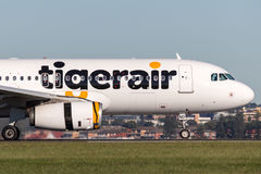 De vliegtuigen van Tiger Airways Tigerair Airbus A320 in Sydney Airport Stock Fotografie