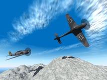De vliegtuigenaanval van de tweede wereldoorlog royalty-vrije illustratie