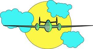 De vliegtuigvliegen in de hemel Royalty-vrije Stock Foto