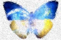 De vlinder abstract geometrisch van de Oekraïne gebrandschilderd glas als achtergrond Stock Foto