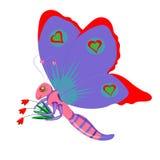 De vlinder en de tulpen. Stock Foto's