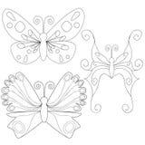 De vlinder isoleerde de kleuring van het overzichtenboek Royalty-vrije Stock Fotografie
