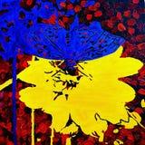 De vlinder op een bloem Stock Foto's