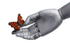 De vlinder op een hand van de robot op wit wordt geïsoleerd dat Stock Afbeelding