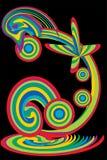 De vlinder op een regenboog Stock Afbeelding