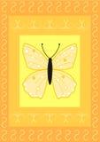 De vlinder op rechthoeken met bloeit patroon Stock Afbeeldingen