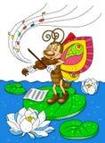 De vlinder speelt de viool Stock Afbeelding